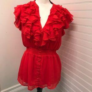 H&M red ruffle flounce top